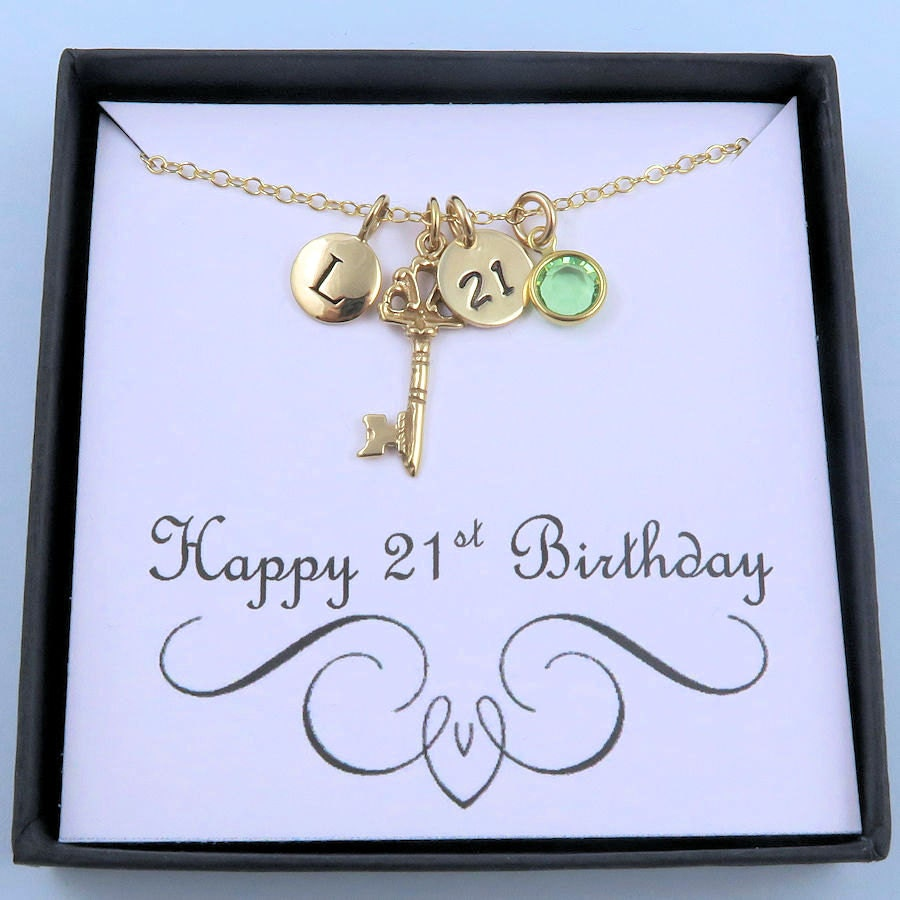 21st Birthday Necklace With Custom Message Card Gold