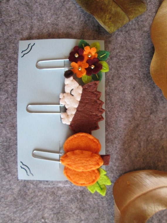 Fall planner clips Set of 3 felt Paper clips Autumn Planner