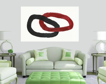 Black and white Red Extra Large Canvas Art - Original Abstract Painting  ~ Minimalist Painting ~ Artist Jerry Titan - Large Canvas Painting