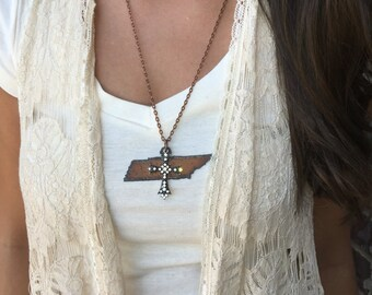 "Tennessee Amazing Grace | State of TN Rusted Metal Cutout Necklace | Rhinestone Cross | 24"" Antique Copper Chain"