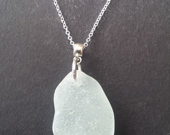 "English sea glass necklace. Genuine smooth Sea glass found on the beach by me. 20"" Sterling silver chain. Handmade by me."