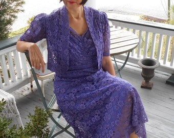 Awesome 1930's Purple Lace Dress with Bolero and Slip