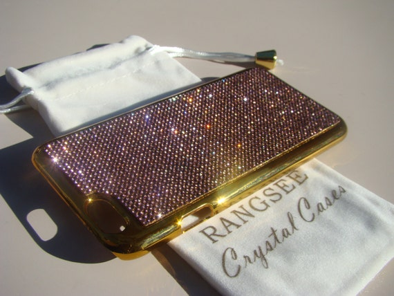 "iPhone 6 / 6s Case Purple Amethyst Rhinstone Crystals on iPhone 6 / 6s Gold Chrome Case. "" Gold Edition"" , Genuine Rangsee Crystal Cases."