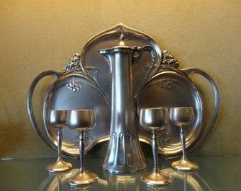 Art Nouveau WMF Tray, Pitcher and 4 Stem Glasses 1910-1918