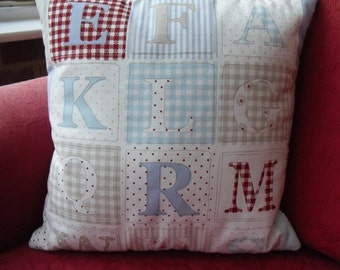 Hand Stitched Alphabet Cushion Cover