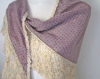 Purple lace scarf, Lavender scarf for women, Triangle scarf with lace, Cotton vintage scarf, Wedding purple scarf, Perfect gift for her