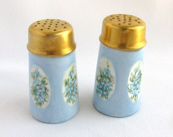 Antique Hand Painted Bavarian Salt and Pepper Shakers Forget Me Nots
