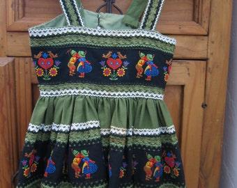1950's Jeanette's of Albuquerque Vintage Child's Dirndl Dress Scandinavia Black Forest Swiss Miss Child's Dress