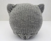 cat ears hat for baby - light grey
