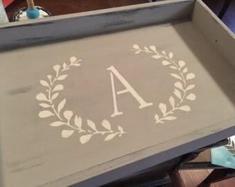 Monogramed wood tray, handmade, hand painted tray, personalized tray