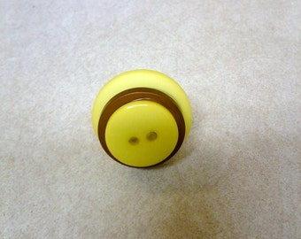 Handmade Stackable Yellow and Brown Adjustable Statement Button Ring