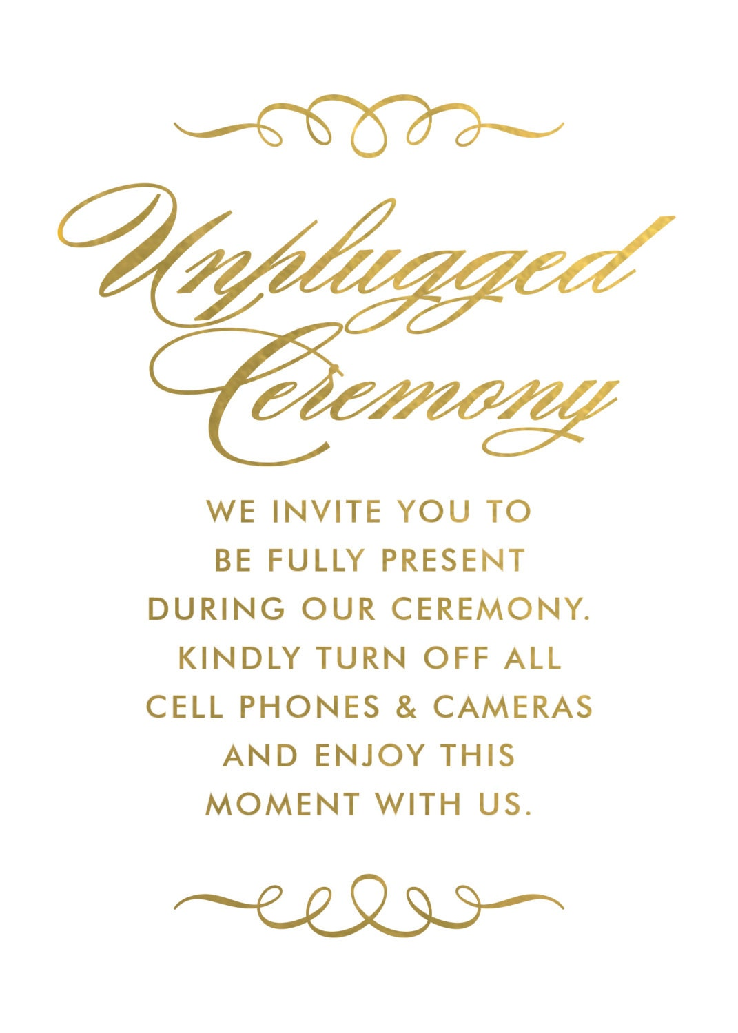 unplugged ceremony signs unplugged wedding signs no cell phone sign no photography sign