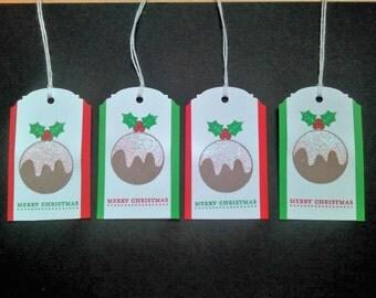 Christmas Pudding Gift Tags Set of 4