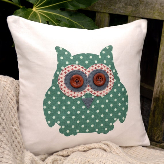 "Owl Cushion - Green Polka Dot, Red Fleur De Lys & Dark Grey ,  ""The Owls of Hoot"" Collection, Tamsin Reed Designs"