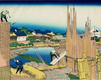 "Japanese Ukiyo-e Woodblock print, Katsushika Hokusai, ""Honjo Tatekawa, from the series Thirty-six Views of Mount Fuji"""