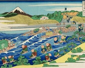 "Japanese Ukiyo-e Woodblock print, Katsushika Hokusai, ""The Fuji from Kanaya on the Tōkaidō, from the series Thirty-six Views of Mount Fuji"""