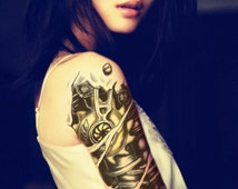 Large 3D mechanical arm Temporary Tattoo - Body Art Removable - Waterproof Easy to Apply- for Men and Women fake tattoos