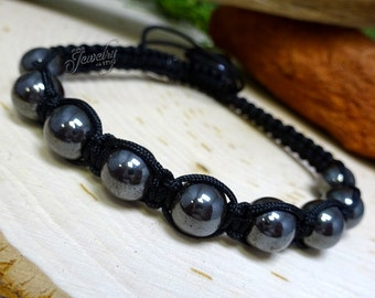 Charcoal Glass Healing Beads Black String Bracelet