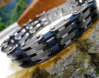 Double Link Stainless Steel and Black Rubber Men's Bracelet