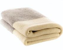 100 % Merino wool blanket, knitted blanket, wool blanket, white blanket, gray, big bed cover, warm blanket, wool bed throw, wrap, warm, home