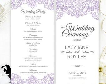 Purple Wedding Programs Printed On Shimmer Paper