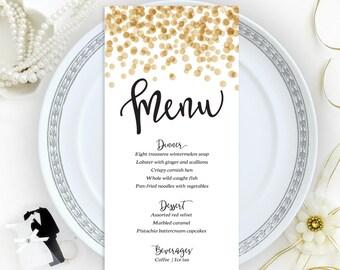 Confetti wedding menu cards printed on shimmer cardstock   Dinner menus   Printed menu cards   Personalized wedding menu   Gold menu cards