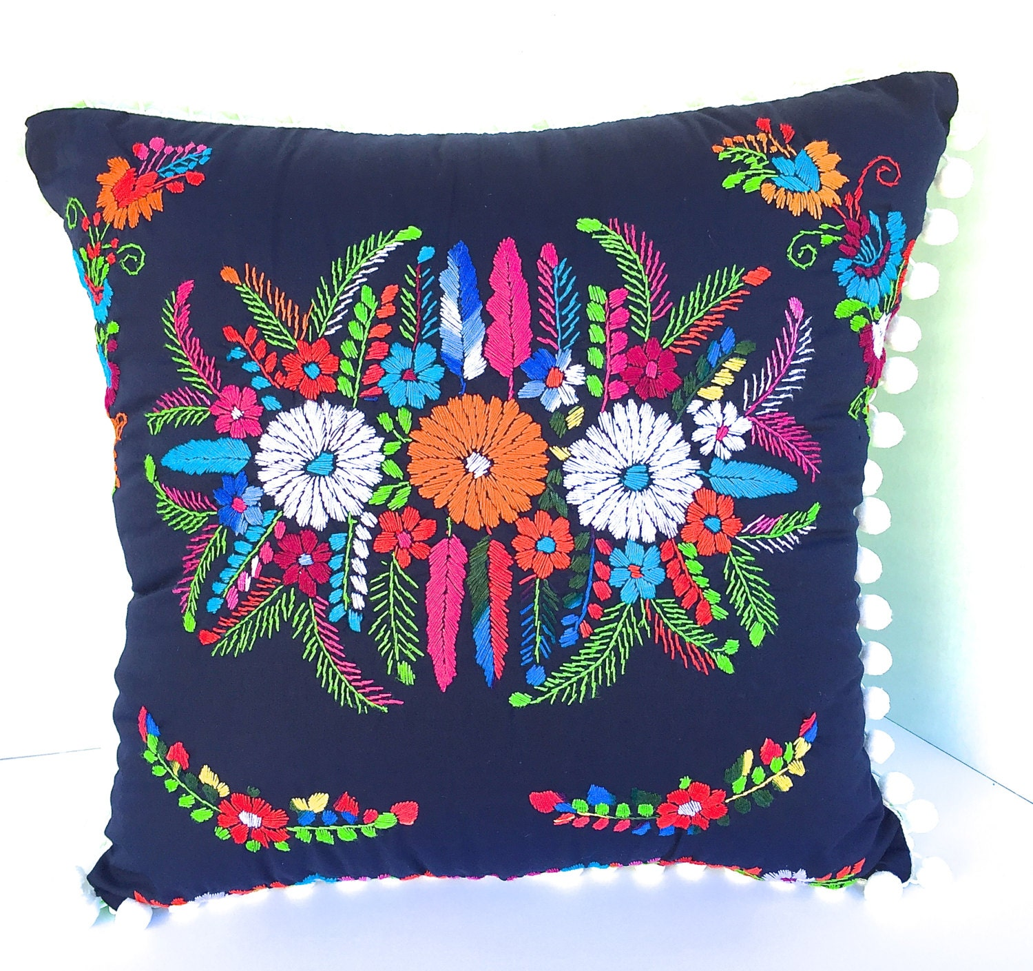 Embroidered mexican dress pillow square