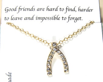 Rhinestone Wishbone Necklace | Friendship Necklace| Best Friend Necklace |A5Gold| Dainty Birthday Necklace, Best Friend Gift