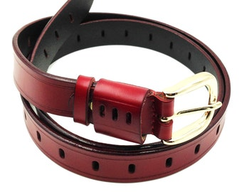 Traditional red leather belt gold buckle