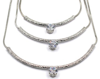 Fashion metal crystal triplet necklace