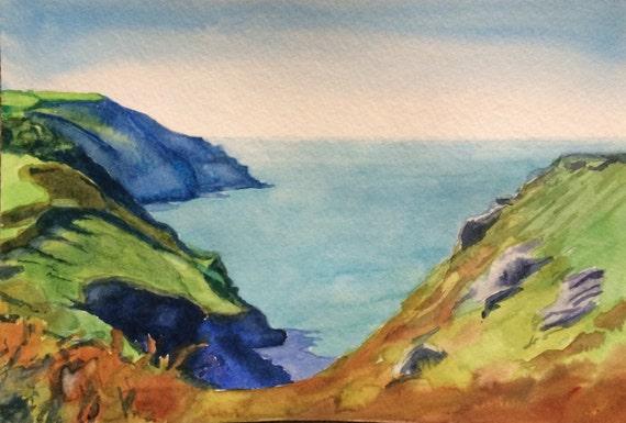 Devon, English coastline, North Devon coast, English coast, coast, Sea painting, English landscape, English watercolor, English cliffs