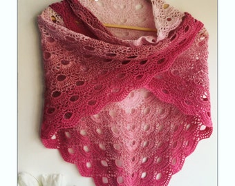 Crochet merino wool Victoria shawl