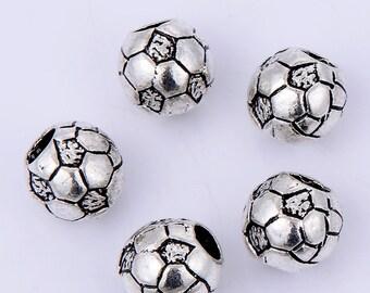 15 Pcs Silver Tone Soccer Beads Fit Charm Bracelet