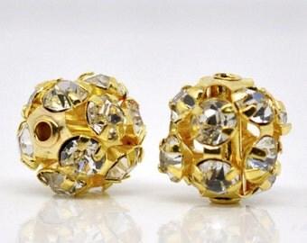 5PCs Gift Ornate Filigree Balls Beads Rhinestone Gold Plated 9mmx8mm