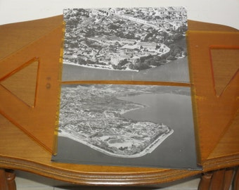 Two aerial black and white photos of Ioannina city in Greece. 1950's. Dimensions 21,5 X 17,5 cm.