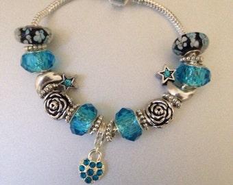 European Charm Bracelet Blue Moon Themed