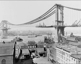 24x36 Poster . Manhattan Bridge, March 23Rd, 1909 New York City
