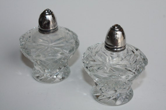 Vintage Irice Salt and Pepper Shaker Set Decorative Glass