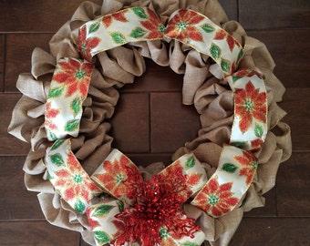 Christmas Wreath - Poinsettia Ribbon Wreath - Holiday Wreath - Winter Wreath - Holiday Gift