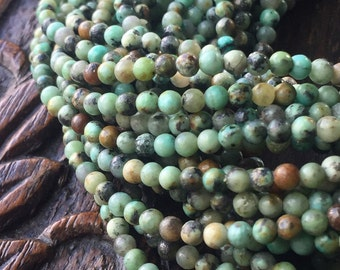 SALE! 20% OFF! African Turquoise 3mm Round Spotted Teal Jasper Full Strand