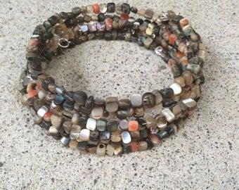 Abalone shell memory wire wrap bracelet