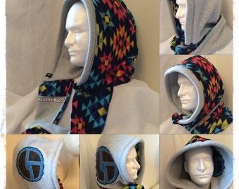 Fleece Infinity Hood - fully reversable, multi-colored, machine washable 4-season hood with Disco Biscuits appliqué