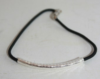 Black and silver cord bracelet