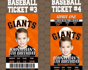 Baseball Game Ticket Team Birthday Party Ticket Invitations Printable Uprint Digital Printed Options * 4 Designs * READ DESCRIPTION*