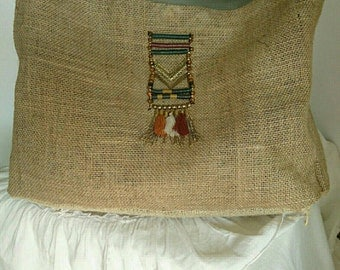 Great beach real canvas jute and reversible tote bag