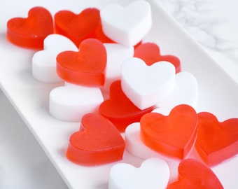Wedding Favors - 20 Mini Heart Soaps - Red and White Soap Favors - Red Wedding Decor - Romantic Gifts For Her - Favors For Bridal Shower