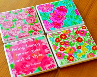 Lilly Pulitzer Coasters Ready To Ship Lilly Monogram Lilly Pulitzer Home Decor Cute Coasters Gifts For Her Gifts Under 30 Cute Coasters Tile