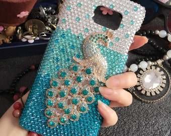 Bling Blue Peacock Luxury Lovely Fashion Sparkles Charms Glossy Jewelled Crystals Rhinestones Diamonds Gems Hard Cover Case for Mobile Phone