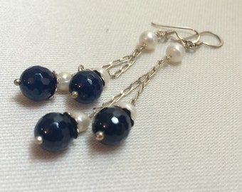 Navy Blue Lapis Lazuli Stone and Sterling Silver Earrings