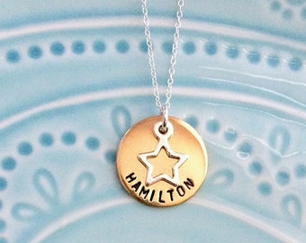 Hamilton Musical Necklace, Playbill and Soundtrack Album Cover, Broadway, Sterling Silver, Gold, Handstamped, Gift for Fan, Gift